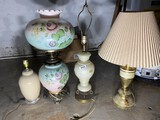 Group lot of lamps including antique gone with the wind