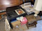 Painted table, magazine rack table, lamp and more