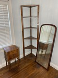 Corner shelf, small stand, large bevelled mirror