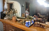 Group lot of vintage items on mantle
