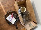 Lodge Cast Iron Pan, old milk bottles, knife, etc