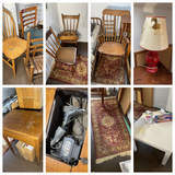Group lot of rugs, old furniture