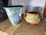 Two pottery pieces marked Roseville