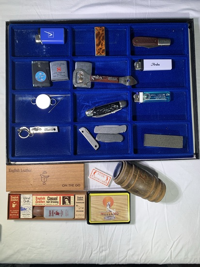 Bank, Nude Playing Cards, Assortment of Knives, Lighters, Show Case & More