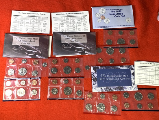 4 Uncirculated Coin Sets - (2)1996 coin packets, 1997 & 1998