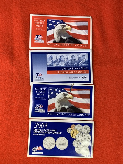 4 Uncirculated Coin Sets - 2002, (2) 2003 coin packets & 2004