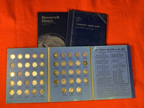 """Roosevelt Dimes Collections Starting 1946 and 1965.  """"Mercury"""" Head Dime Collection 1916 to 1945"""