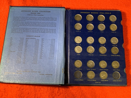 Jefferson Nickel Collection Coin Book Number One 1938 to 1964