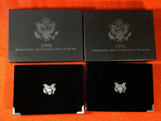 1992 & 1993 United States Mint Premier Silver Proof Sets