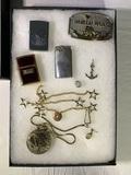 World War II Belt Buckle, Pocket Watch, Lighters & Showcase Box