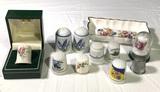 Assorted Thimbles, Thimble Holder & Salt & Pepper Shakers