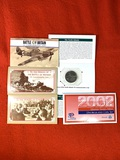 (4) $5.00 Commemorative Coin Sets and (1) 2002 Uncirculated Coin Set
