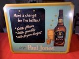 Vintage Paul Jones Metal on Cardboard Advertising Sign
