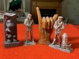 2 wooden Decorative Items & 2 U.S. Navy Memorial Figures