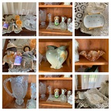 Assortment of Glassware, My Pals Dolls, Dollies, Candle Holders & More