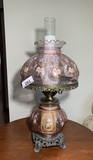 Beautiful Pink with Painted Flower Gone with the WInd Style Lamp