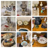 Decorative Glassware, Dolls, Lamp, Clocks, Sewing Box, Sewing Items & More