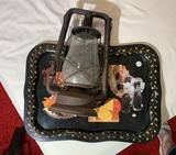 Decorative Tray & Dietz Lantern