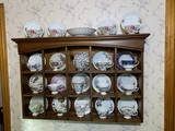 Great Collection of Tea Cups and Saucers with Wooden Dovetailed Shelf