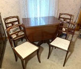 Antique Drop Leaf Dining Table with 4 Chairs and 1 Table Leaf