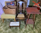 Basket, Foot Stool, Rocker and Bamboo Red Table