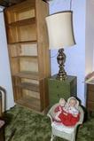 Lamp, Book Shelf, Vintage Doll, Small Green 4 Drawer Night Stand & Doll Rocker