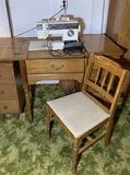 Sewing Table, Chair and Singer Sewing Machine Model 6233