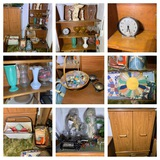 2 Cabinets, Sewing Items, Bowling Ball, Glassware, Quilt Patches & More