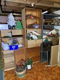 2 Wooden Shelving Units, 1 Metal Shelf, Crafting Items, Christmas Items, Frames & More