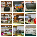 2 Small Painted Dressers, Contents of Upper Cabinets, Linens, Glassware & More