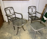 2 Patio Chairs and 2 Side Tables