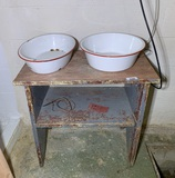 Primitive Style Table with Enamelware