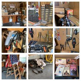Garage Clean Out Right Back Side - Hand Tools, Books, Organizer, Hoses & More