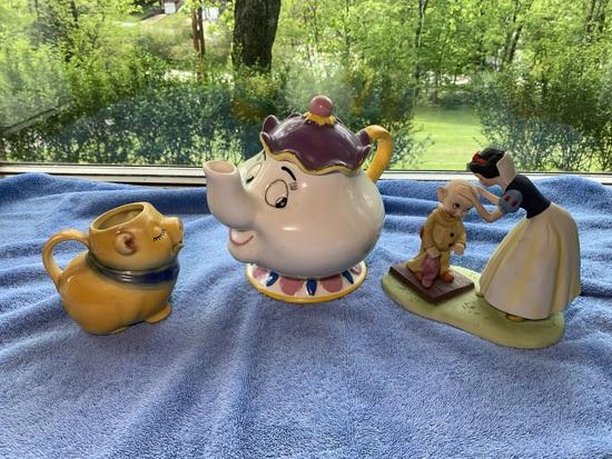 Ceramic Pig Creamer by Smiley, Disney Mrs. Potts Tea Pot & Disney Snow White Statue