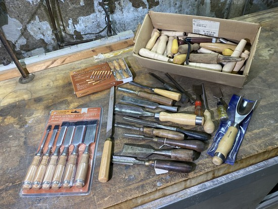 Group lot of better antique and newer chisels, handles