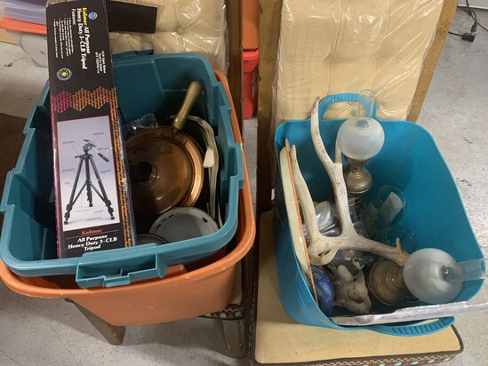 Two totes of misc vintage items