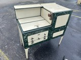 Antique Enameled Stove in Green and Cream