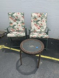 2 Folding Patio Chairs with Cushions and Side Table