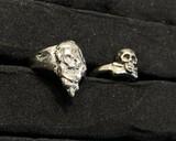 Two VIntage Steel Memento Mori Skull Rings