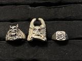 3 Vintage Steel Skull Biker RIngs