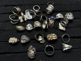 Large lot assorted costume jewelry rings