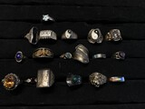 Large lot of antique sterling silver rings