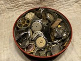 Tin lot of old watches, parts