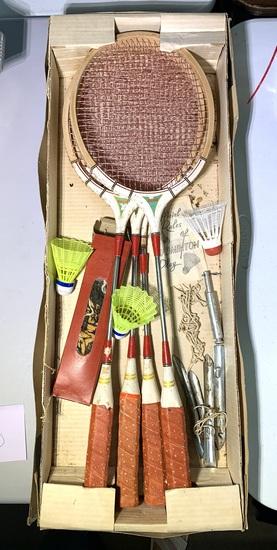 Vintage Badminton Set with Manual
