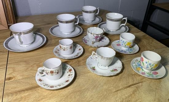 VIntage 6 Mini Tea Cups & Saucer Sets & 4 Regular Size Set