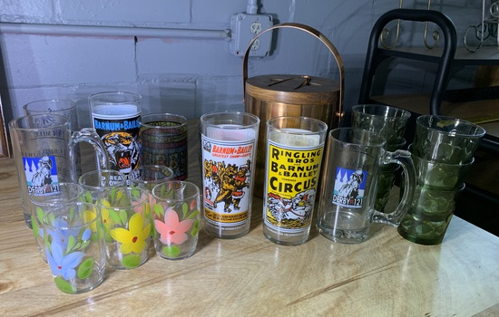 Vintage 21 Drinking Glasses & Ice Bucket