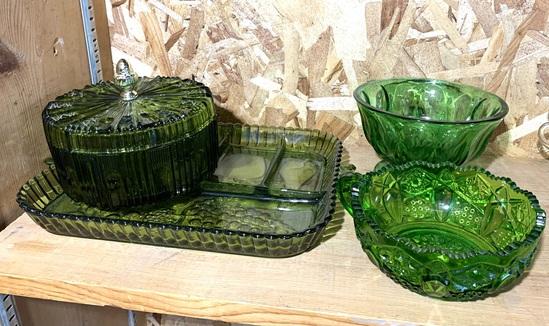 4 Green Glassware