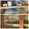 Shelf lot of kitchen items plus champagne flutes etc