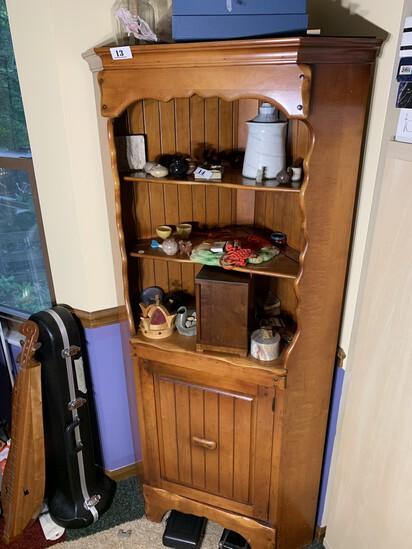 Vintage Maple Corner Cupboard