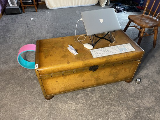 Nice Vintage Trunk with Map of World Decoration